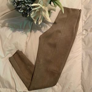 Taupe suede Zara leggings with zipper